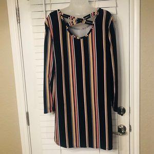 {NWOT} Local Boutique vertical stripe 60s dress